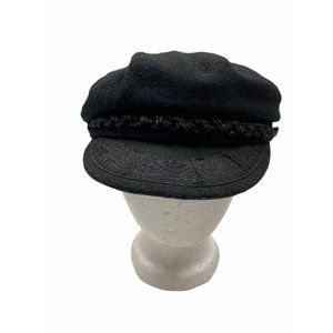 Vintage Greek Black Fisherman Cap Hat Wool M/L